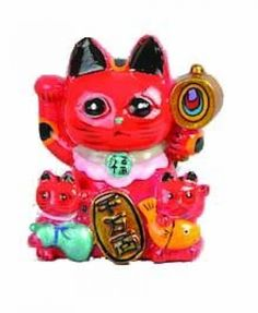 Lucky Cat Rood magneet / The Oriental Shop