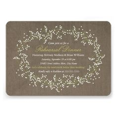 Rustic Floral Wreath Rehearsal Dinner Invite Announcements....use grays with blues