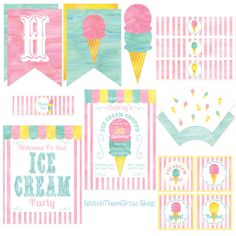 Ice Cream Party Printables Set Ice Cream Shoppe by IWatchThemGrow