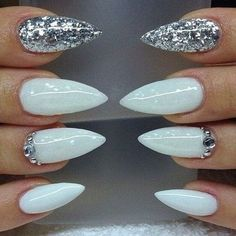White nails, silver glitter with rhinestone, crystal nails, false nails, press…