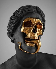 Hedi Xandt, The God Of The Grove, 2013.  gold-plated brass, polymer, distressed black finish, marble. Courtesy of Hedi Xandt.