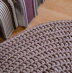 Handmade Light Brown Crochet Rug by MeruHome