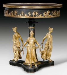"RUNDES GUERIDON ""AUX DANSEUSES"",late Empire, after designs by P.P. THOMIRE (Pierre Philippe Thomire, 1751-1843), Paris, 19th century."