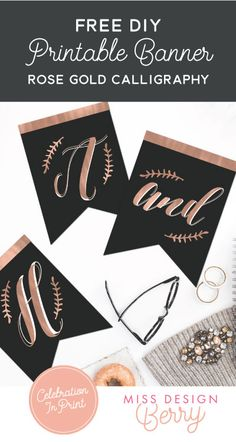 Free printable Rose Gold Bunting Banner - perfect for DIY Wedding or Parties!! Only from Miss Design Berry!