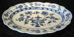 "Blue Onion Oval Platter Teichert Mark 15.25"" Germany"