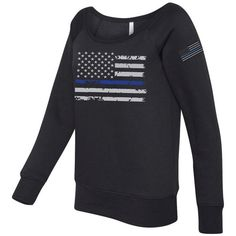 Thin Blue Line Distress Flag Ladies Draped Black Sweatshirt Sku pol166 ($40) ❤ liked on Polyvore featuring tops, hoodies, sweatshirts, grey, women's clothing, thin sweatshirts, grey sweatshirt, raglan top, distressed sweatshirt and raglan sweatshirt