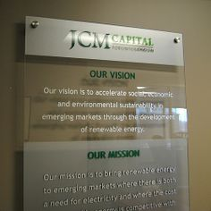 JCM Capital - Vision and Mission Wall sign