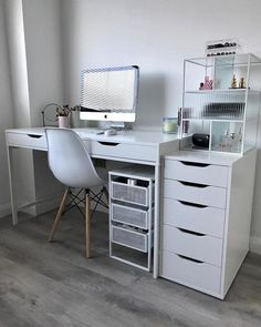 A clean look that's easy to like and mix with other styles, either supporting a desk or standing alone. The back is finished so you can place it in the middle of the room – all sides are just as beautiful. Room Design Bedroom, Room Ideas Bedroom, Home Room Design, Home Office Design, Small Room Design, Study Room Decor, Cute Room Decor, Bedroom Decor For Teen Girls, White Desk In Bedroom