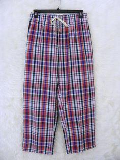 Mens PENGUIN Munsingwear Blue Red Black Plaid Cotton Sleep Lounge Pants SZ Large #PenguinMunsingWear #LoungePants