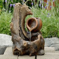 Jeco Tabletop Wood Stump Water Fountain (Resin), Outdoor Décor