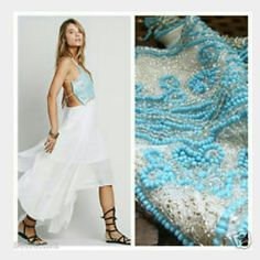 FREE PEOPLE TURQUOISE SPIRIT COTTON MAXI DRESS Free People Turquoise Spirit Cotton Maxi Dress Size 8 Intriquite hand beaded top Handkerchief style maxi dress  Spaghetti string/ strappy back Free People Dresses Maxi