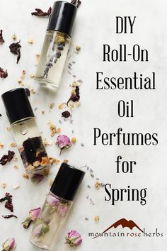 Floral Essential Oil Perfume Roll On Recipes for Spring: With so many botanicals lending their beautiful floral aromas to every season, we formulated three perfume recipes intended for simple, portable use in our roll-top bottles. Designed for spring Neroli Essential Oil, Essential Oil Perfume, Perfume Oils, Essential Oil Blends, Diy Hair Perfume, Diy With Essential Oils, Perfume Fragrance, Perfume Bottles, Natural Beauty Products