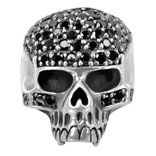 FR1042 Stainless  Steel Skull Ring  With Awesome Black  CZ's  Available in sizes  9,10,11,12,13  $56