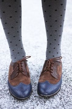 Oxfords And Polka Dot Tights Picture & Image | tumblr
