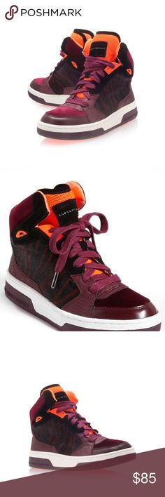 "KG Kurt Geiger LOUD Sneakers Go bold or go home in a high-top sneaker designed to be noticed. Tiger-print calf-hair panels and fluorescent color-pop accents at the tongue and sole combine with snake-embossed leather detailing to keep you in the spotlight wherever you go. 5"" shaft height. Leather, velvet and genuine calf-hair upper/textile lining/rubber sole. By KG Kurt Geiger; imported Kurt Geiger Shoes Athletic Shoes"