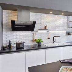 Kitchen Backsplash, Kitchen Cabinets, Metro White, Blanco Sinks, Under Counter Lighting, How To Clean Granite, Inset Sink, Corner Sink, Kitchens