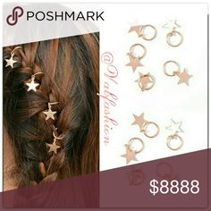 🌟🌟SET OF 5 GOLDEN STAR HAIR ACCESSORIES!!🌟🌟 Set of 5 adorable golden star hair accessories! Each one is just over 2cm long. Simply thread onto your hair as you braid or create your own unique style!! Accessories Hair Accessories