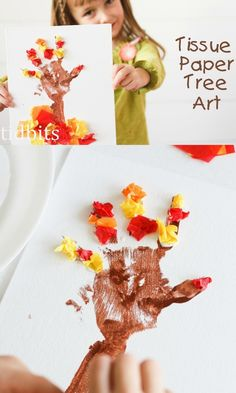 Tissue Paper Tree Art Tutorial - great kids craft for the fall!