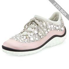 Miu Miu Jeweled Satin Lace-up Sneaker