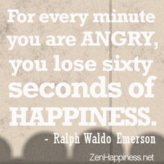 Angry Quotes- For every minute you are angry, you lose sixty seconds of happiness