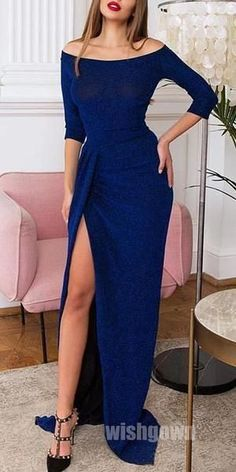 Royal Blue Sleeves Side Slit Mermaid Long Prom Dresses, Source by bubblegownus dress Formal Dresses With Sleeves, Blue Dresses, Long Sleeve Formal Dress, Long Dresses, Dinner Gowns, Robes D'occasion, Ladies Dress Design, Classy Outfits, Stylish Outfits