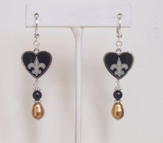 New Orleans Saints Earrings, Little Piece of My Heart Gold and Black Pearls, Clear Crystal Leverback Pro Football Earrings by scbeachbling on Etsy