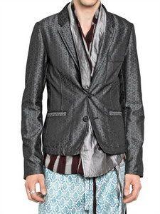 Ann Demeulemeester - Silk Jacquard 2 Button Jacket | FashionJug.com
