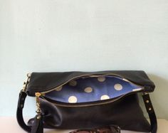 Black leather clutch leather purse black evening от GingerandBrown