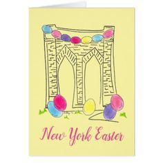 New York City Easter Brooklyn Bridge Egg Hunt NYC Card - happy easter egg holiday family diy custom personalize