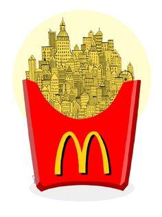 McDonald's french fries city.  Photoshop CS 5.5,  Wacom Cintiq PL-710