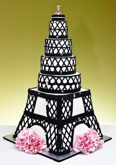 black and white eiffel tower wedding cake Pretty Cakes, Cute Cakes, Beautiful Cakes, Amazing Cakes, Crazy Cakes, Fancy Cakes, Pink Cakes, Take The Cake, Love Cake