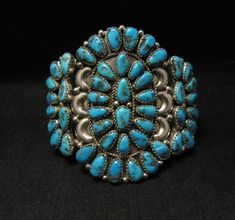 Image 0 of Justin Wilson Navajo Silver & Turquoise Cluster Jewelry Bracelet