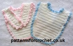 Buttoned Bib Free Crochet Pattern from http://www.patternsforcrochet.co.uk/baby-buttoned-bib-usa.html easy to follow, USA and UK format.