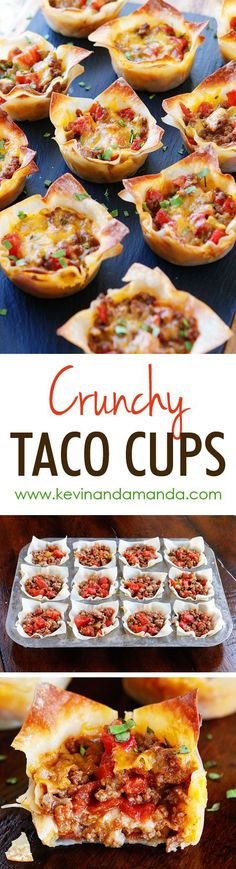 These fun Crunchy Taco Cups are made in a muffin tin with wonton wrappers!  Great for a taco party/bar. Everyone can add their own ingredients and toppings! Crunchy, delicious, and fun to eat! | Kevin & Amanda