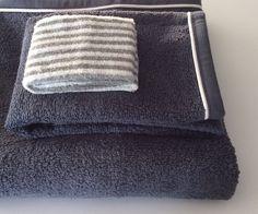 Set spugne da bagno (viso+ospite)colore blu con profilo bianco.