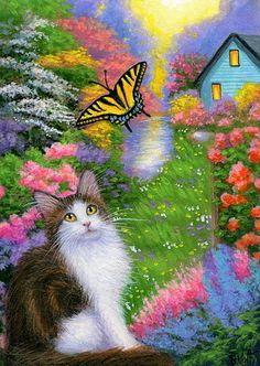 Tuxedo cat kitten butterfly spring garden landscape original aceo painting art #Miniature