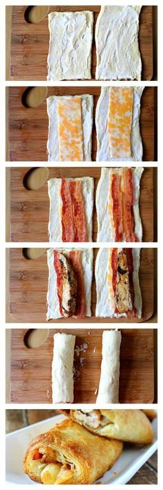 Ranch Chicken Club roll ups..* tried these. Were good and easy! I seasoned my chicken in Italian dressing and I cut up the bacon. B loved them(: