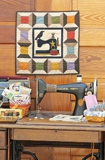 Primitive Stitches- Sewing Machine Quilt- Spools - Pattern in Little Quilts in the Coop Two by The Little Red Hen