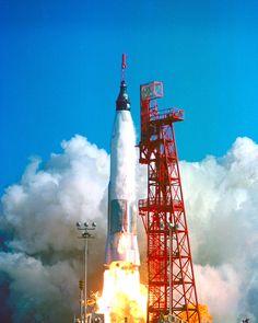 Friendship 7 launches atop an Atlas rocket