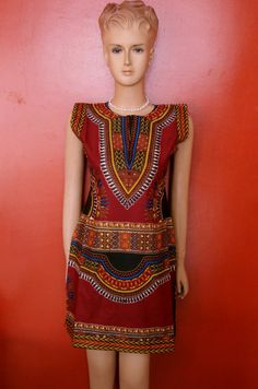 Sleeveless red dashiki tunic for woman by SoColoredFashion on Etsy