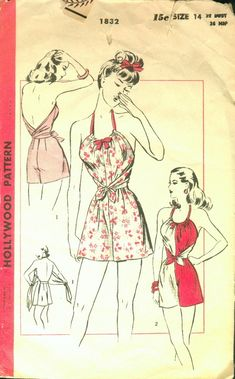 "Hollywood 1832; 1940s; Short Pajamas or Playsuit ""Sew-Simple"". Halter bodice - wraps about the bodice and ties at center-front. Halter drawn through casing at neck-line. Fitted shorts. [insert your photos of this pattern made up]"