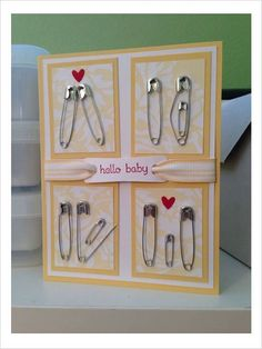 Karte zur Geburt Homemade baby shower cards (with 11 pins). Karte zur Geburt Homemade baby shower cards (with 11 pins). Homemade Cards, Homemade Gifts, Diy Gifts, Craft Gifts, Pin Card, Card Card, Welcome Card, Diy Bebe, Baby Crafts