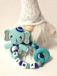 Personalisierter Beissring mit Elefant Mint Smurfs, Fictional Characters, Art, Feathers, Cordial, Rings, Art Background, Kunst, Performing Arts