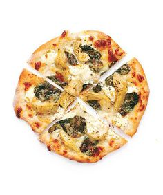 Spinach and Artichoke Pizzas: This recipe combines two favorite party foods—spinach-artichoke dip and pizza.