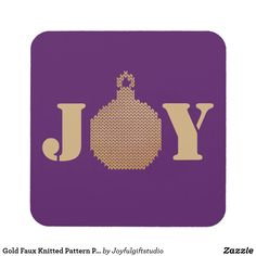 Shop Gold Faux Knitted Pattern Purple Background I Joy Beverage Coaster created by Joyfulgiftstudio. Holiday Cards, Christmas Cards, Christmas Ornaments, Christmas Coasters, Christmas Party Decorations, Purple Love, Purple Backgrounds, New Years Eve Party, Drink Coasters