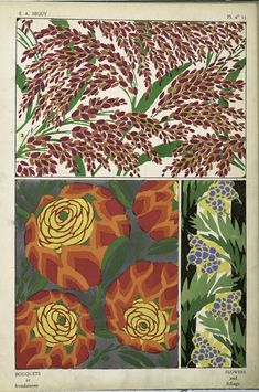 """""""Flowers and Foliage,"""" Eugene Alain Seguy was one of the foremost French designers at the beginning of the 20th century. Working in both the Art Deco and Art Nouveau styles, he published many design folios utilizing the pochoir technique, a printing process that employs a series of stencils to lay dense and vivid color."""