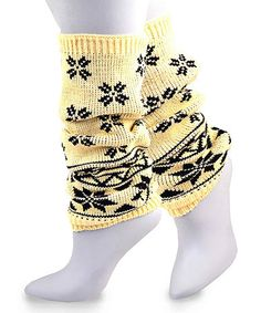 Look at this #zulilyfind! Oatmeal Snowflake Leg Warmers #zulilyfinds