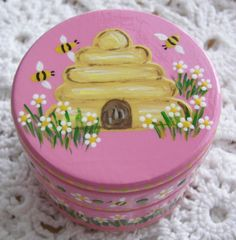 Hand Painted Love Boxes Pink Beehive Trinket Box Wood