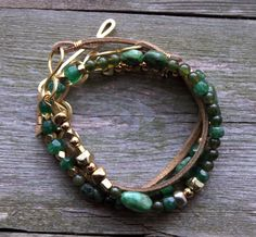 Beaded Leather Wrap Bracelet Emerald Green Gold by prairiefunk, $58.00