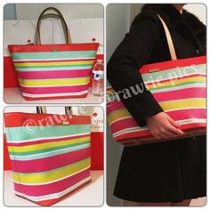 """New Kate Spade colorful stripes large tote 100% authentic. Striped pattern grainy vinyl with leather trim and 14-karat light gold plated hardware. Inside zip and slip pockets. Zip top closure and fabric lining. Handles drop 9"""". Measures 19""""top/13""""bottom x 11"""" (H) x 6"""" (W). Brand new with tags. Comes from a pet and smoke free home. kate spade Bags Totes"""